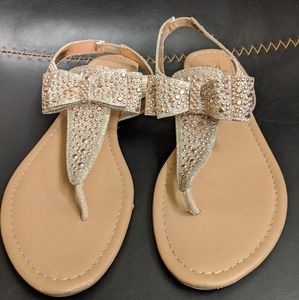 Champagne gold studded bow sandals